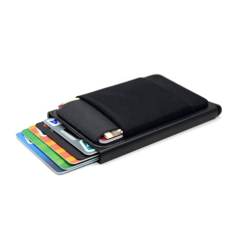 Aluminum Wallet With Elasticity Back Pouch ID Credit Card Holder RFID Metal Wallet Automatic Pop up Bank Card Case Custom LOGO