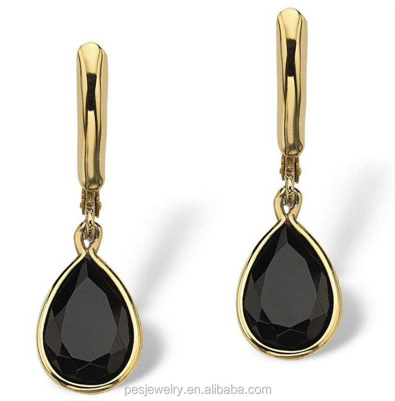 Pear Shaped Genuine Onyx 14k Yellow Gold Plated Drop Earrings