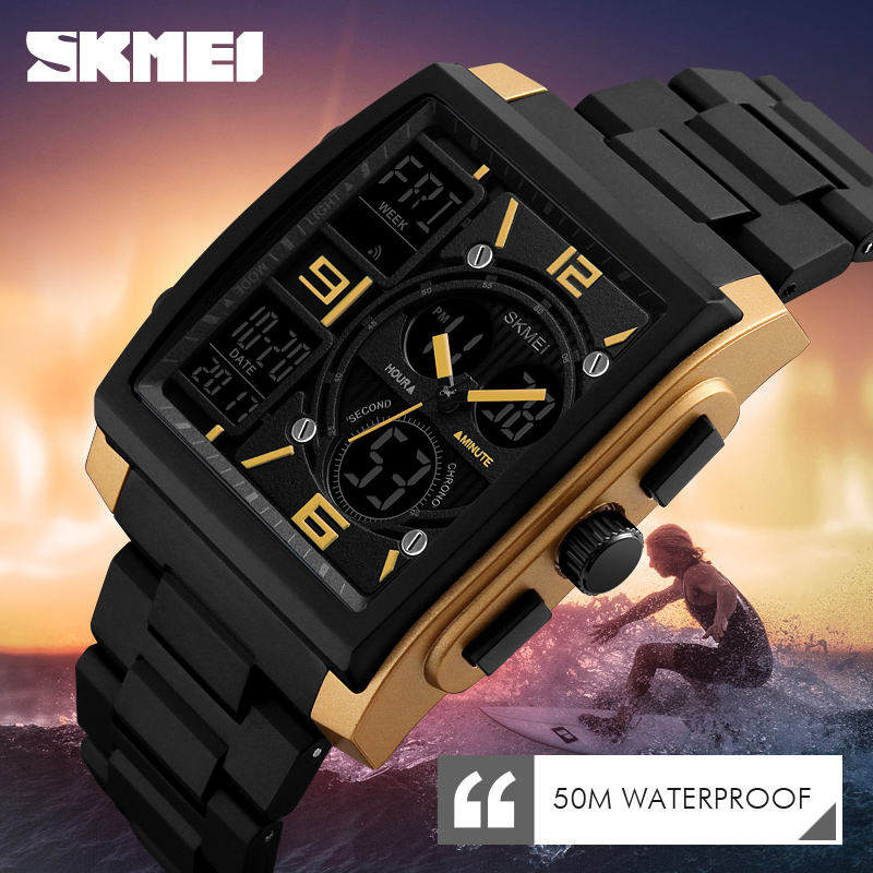 Trend design Skmei 1274 fashion analog digital watches for men sport square watch