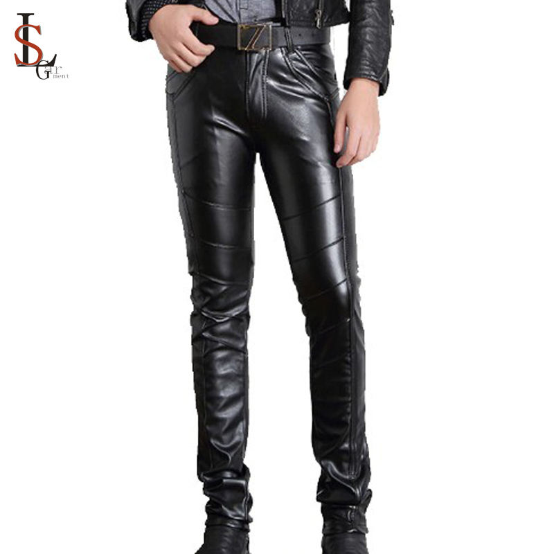 Wholesale custom mens black sexy tight pu leather pencil pants trousers