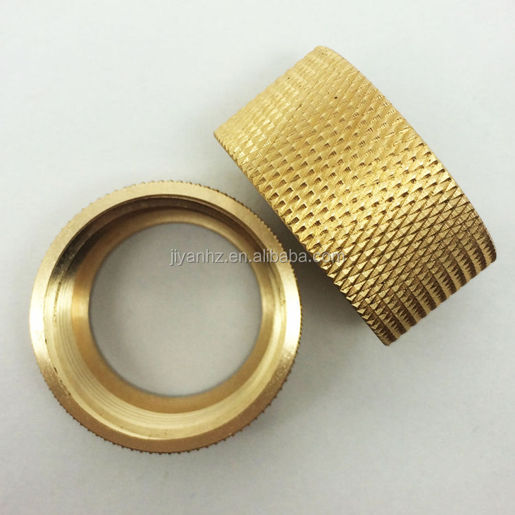 Gold plating service brass bright luster diamond knurled inner thread bushing hollow spare parts