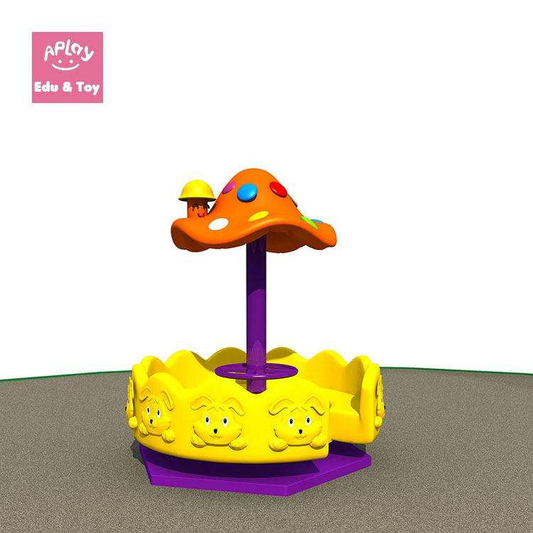 Merry go round in park mushroom games toys for kids outside playground