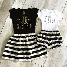 Big sister outfit big sister t shirt with gold glitter Polka Dot dress little sister baby romper with stripe bloomers shorts