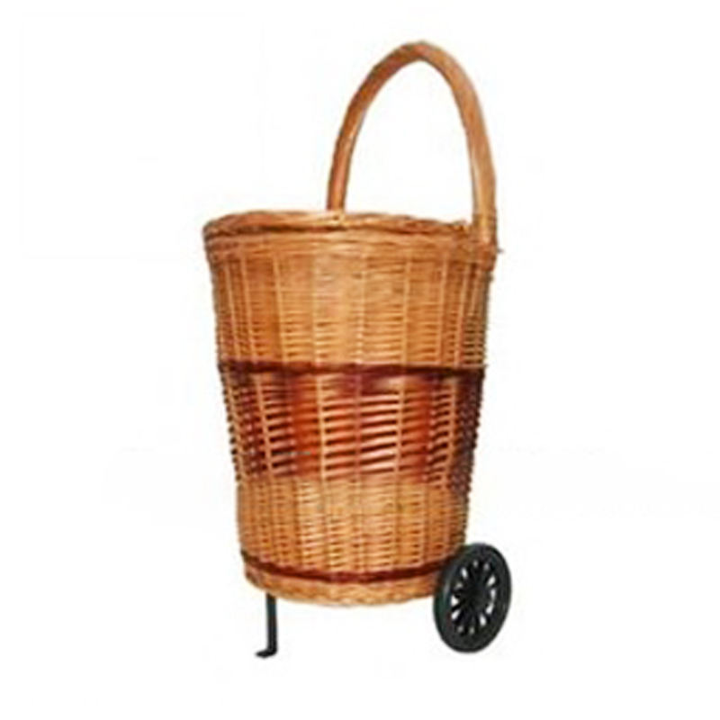 willow Wicker shopping cart with 2 wheels wicker shopping baskets with wheels