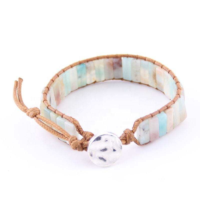 Wholesale Drop shipment Women Energy Beaded Agate Bracelet Handmade Natural Stone Square Amazonite Wrap Bracelets Bangles