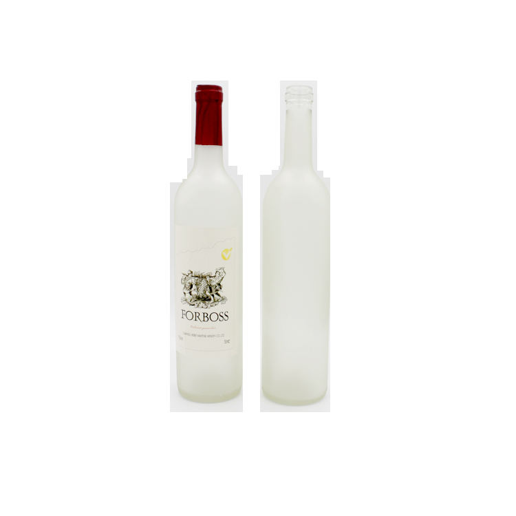 Hot selling Frosted white 750ml wine glass bottle