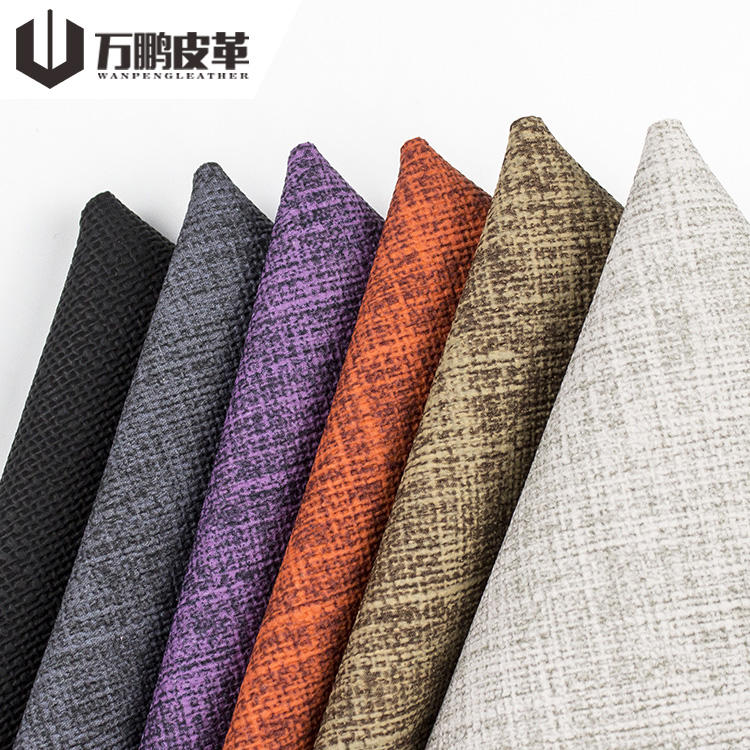 1mm thick Imitated cotton flannel fabric pvc synthetic leather for sofa Furniture,luggage