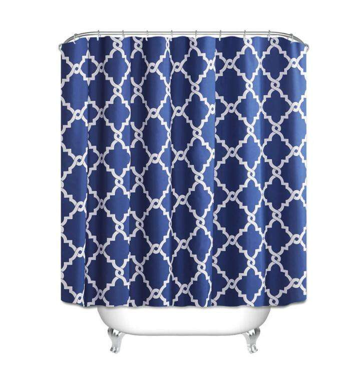 Popular 1pc shower curtain 12hooks 1 set of bath rug & contour for bathroom