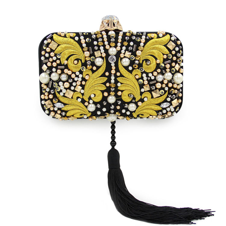 tassel with gold embroidery fabric beads clutch evening bag