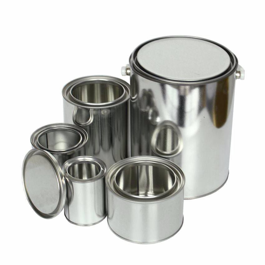 metal round solvent tinplate small plain silver print lever lid paint tins can
