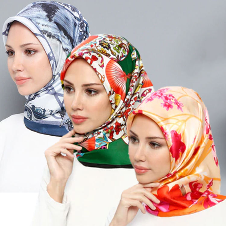Popular Women Cotton Hijab Scarf Satin Surface Scarf Lady Polka Dot Pattern Printed Hijab