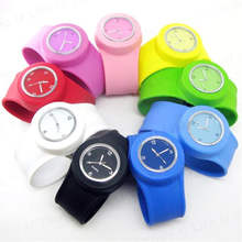 Silicone rubber Quartz Fashion Sport slap Wrist Band watch for Children Boy Girl Lady Women