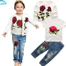 SE340 Fall Children's Clothing Sets Wholesale 3pcs Flower Girls Outfits