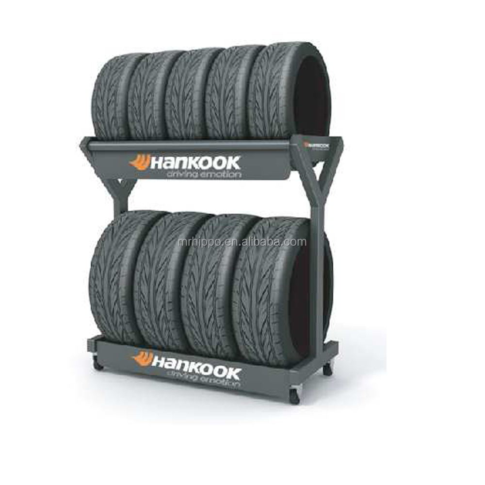Floor Type metal tire rack Steel Wheel Frame Warehouse Tire Display Rack