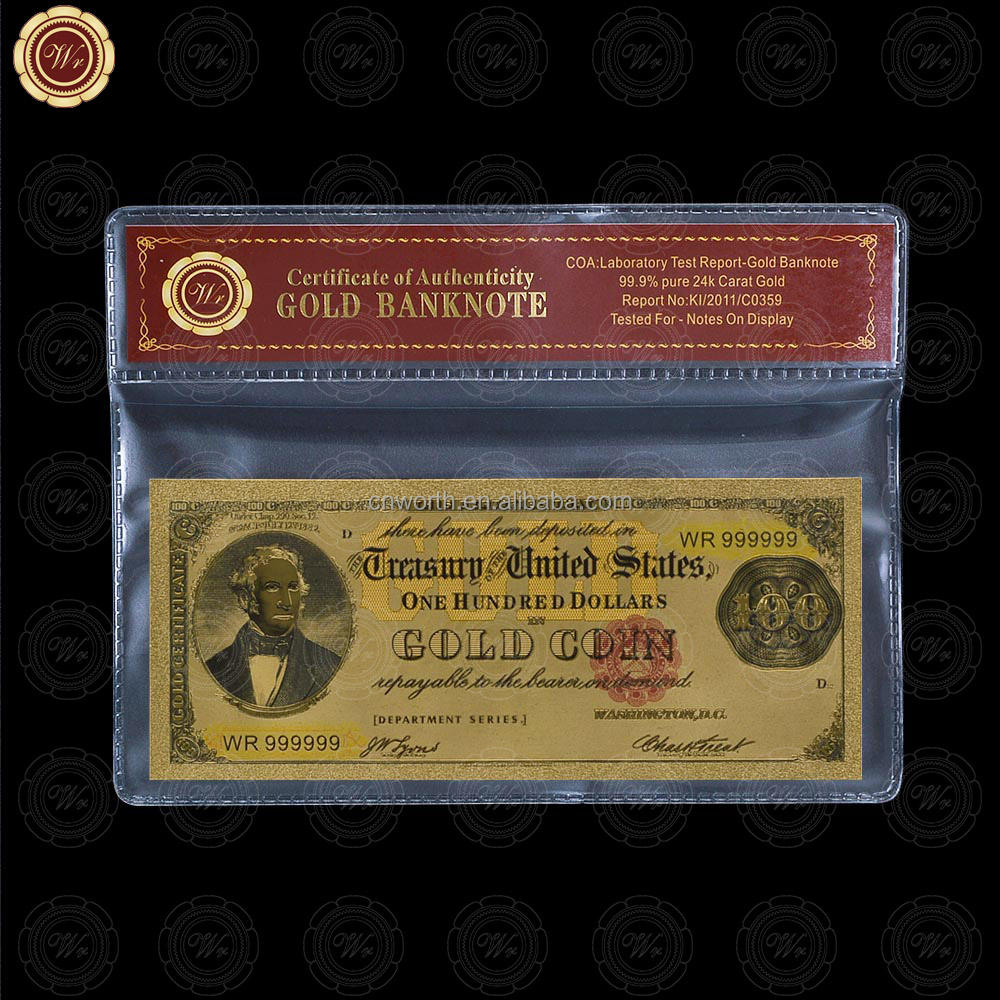24K GOLD FOIL PLATED 1882 $100 DOLLAR BILL BANKNOTE CURRENCY GOLD NOVELTY MONEY