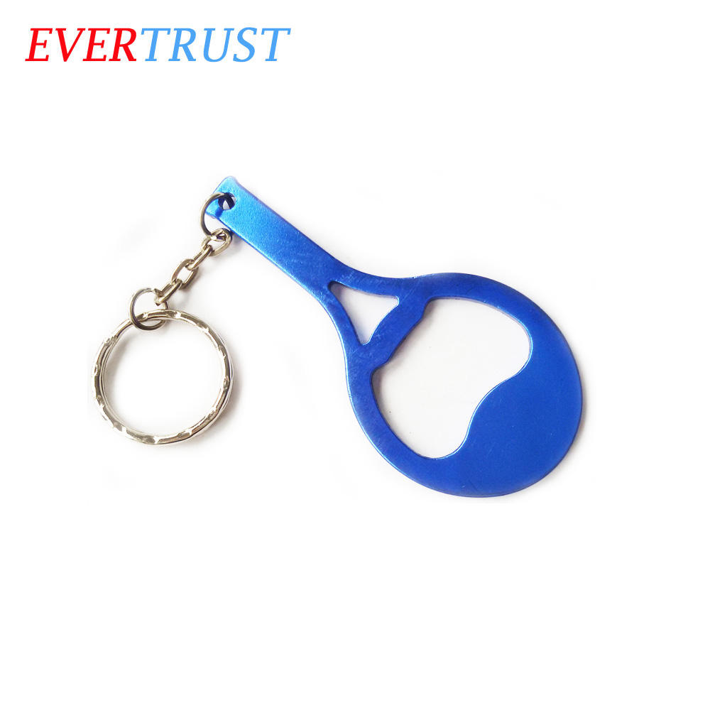 aluminum tennis racket shape keychain bottle opener