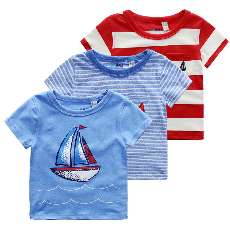 Baby Short Sleeve Sailing Style Cotton Round Neck T-shirt In High Quality