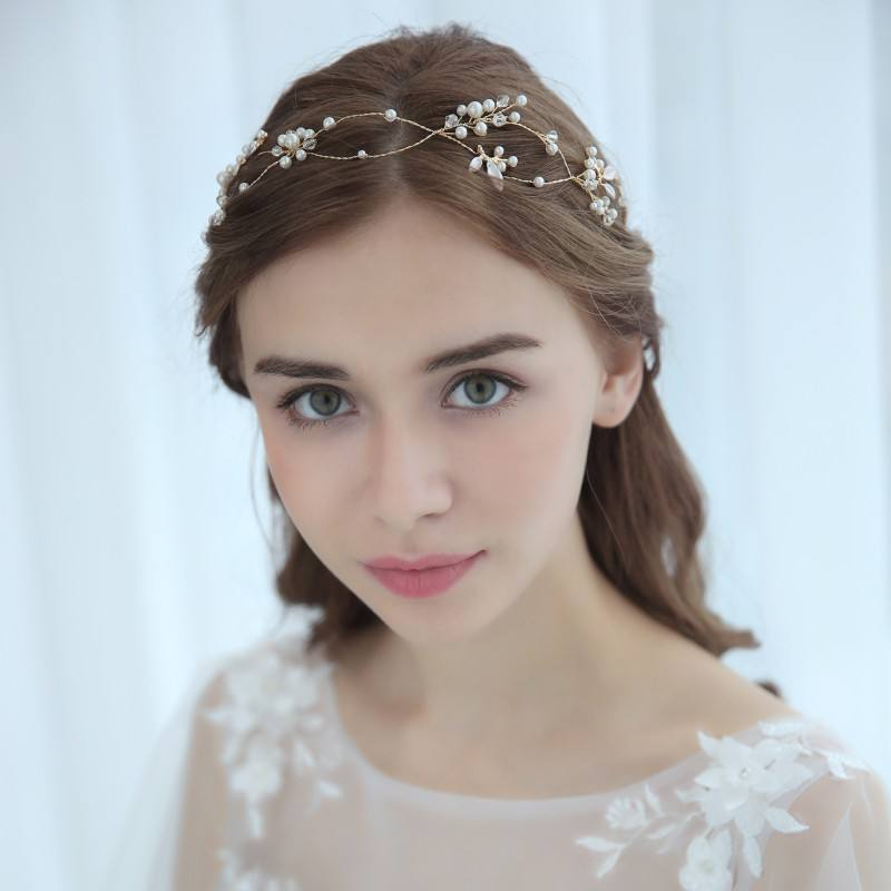 Wedding Hair Accessories Bridal Vine Crystal Headband Gold Headpieces For Women And Girls