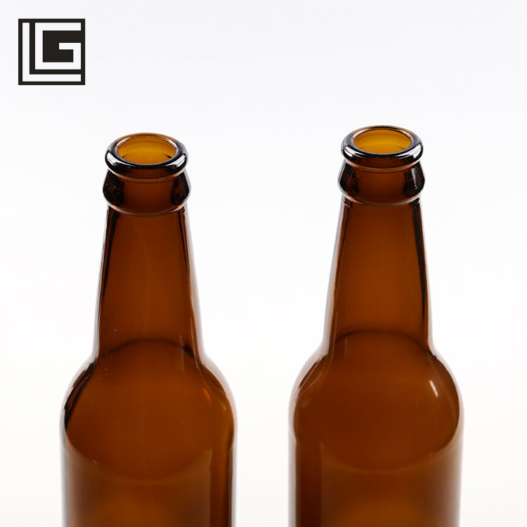 Bulk in stock recyclable 330ml amber beer bottle glass with cap