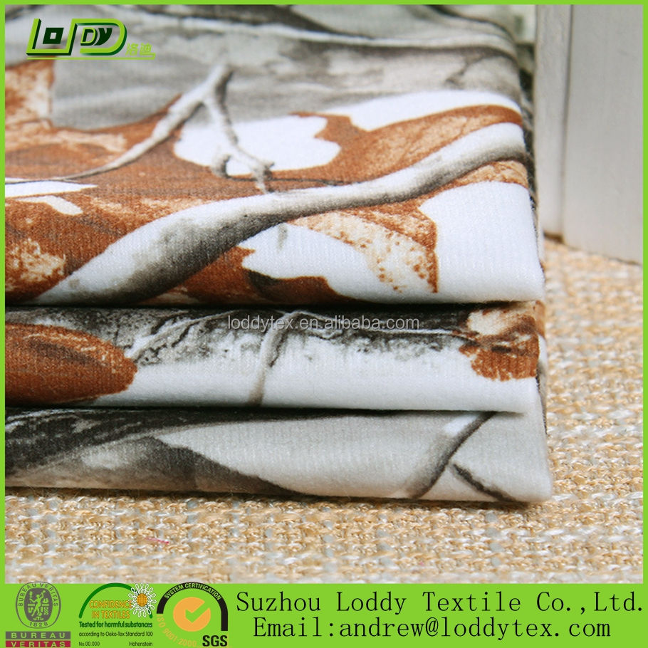 Polyester printed brushed loop velvet fabric for hunting suits