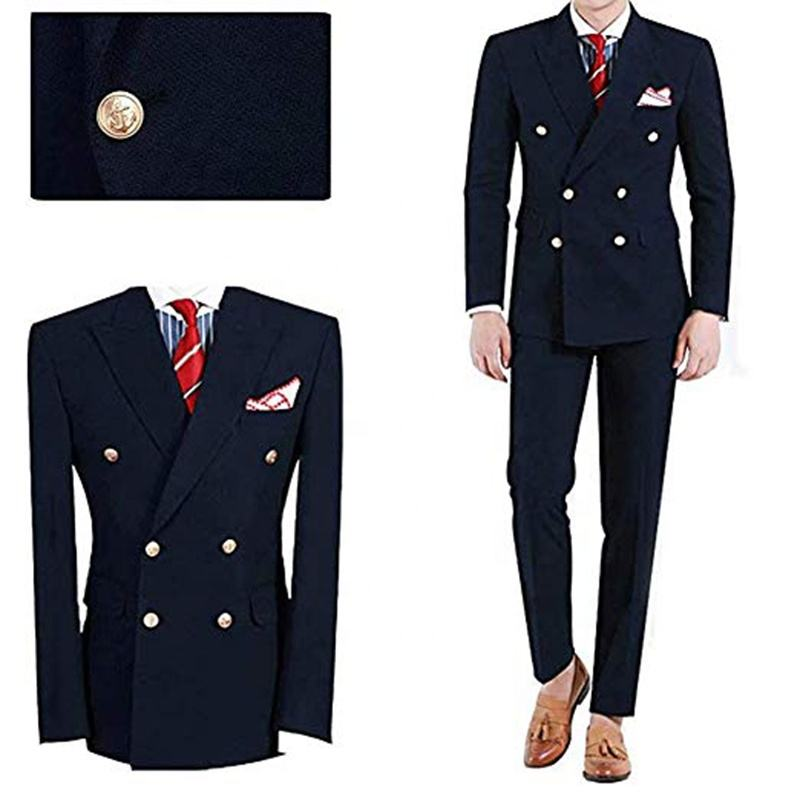 Latest Fashionable Navy Blue Double Breasted Mens Wedding Slim Fit Suits Groom Formal Prom Party Tuxedo