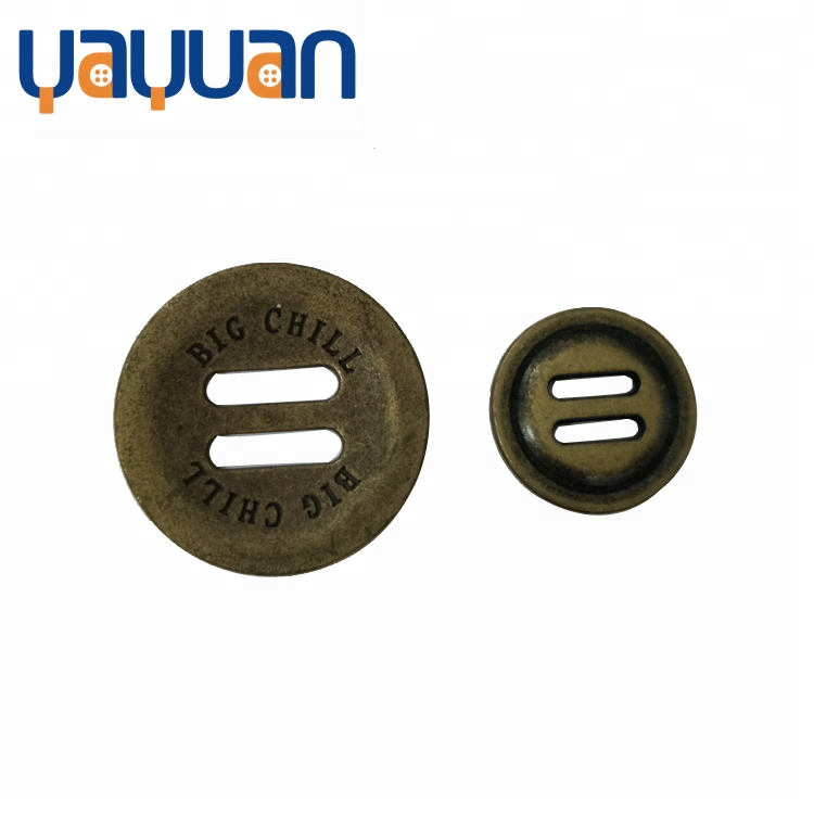 Alloy 2 slot button decoration lettering button size and color custom