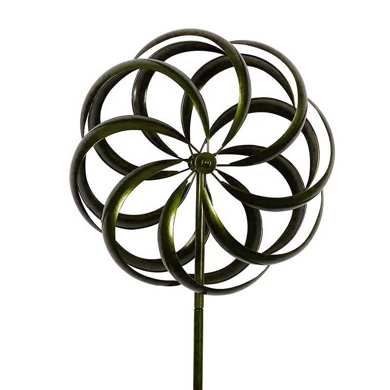 Stock Wholesale Garden Stake Trellis Metal Wind Spinner