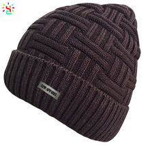 Fleece lined beanie hat without visor beanie hat cap knit beanie winter mens knitting skull cap