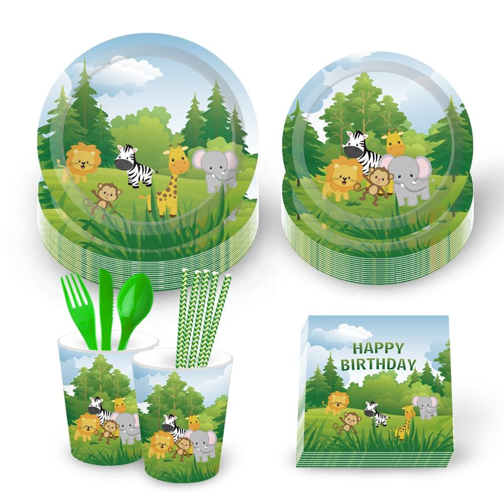 MM009 Jungle Theme Party Tableware Animal Party Supplies Tableware Set Birthday