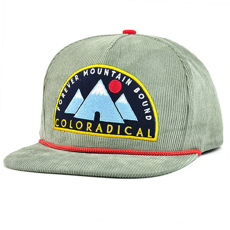 Flat bill embroidery patch custom snapback corduroy caps