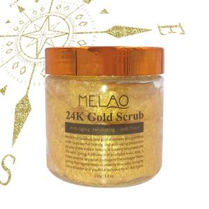 Amazon Hot Selling Custom Melao Skin Care Product Anti Aging Deep Cleansing Effective Gentle Formula Organic 24K Gold Body Scrub