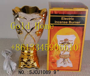 2019 Antique Golden Color Bakhoor 세라믹 전기 향 Burner