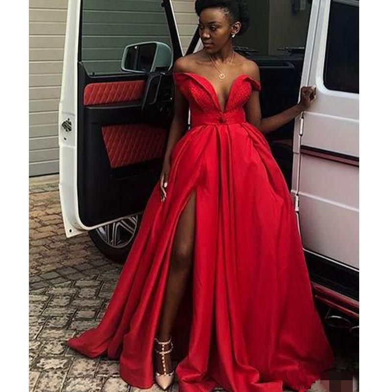African Nigeria Girls Red Prom Dresses Side Split Evening Dress vestido Custom Formal Party Gowns