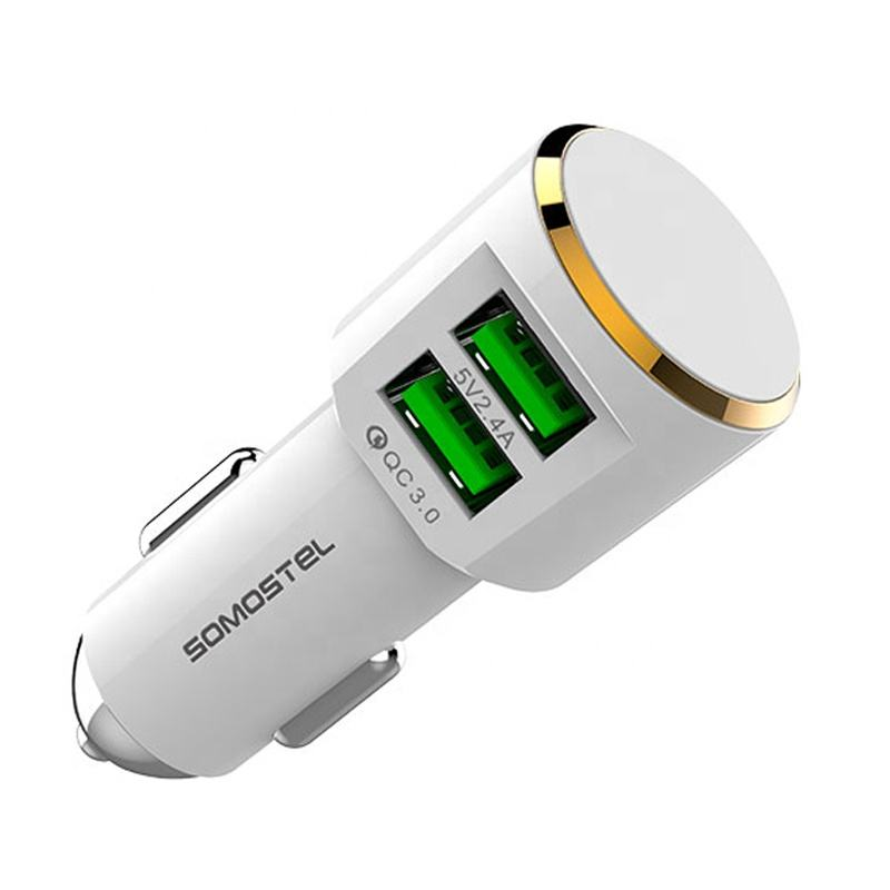 [Somostel] QC3.0 +2.4A dual usb ports fast charging car charger for iphone with smart IC 5V 2.4A wireless car charger
