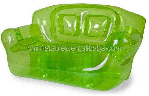 Transparent green inflatable sofa for adult