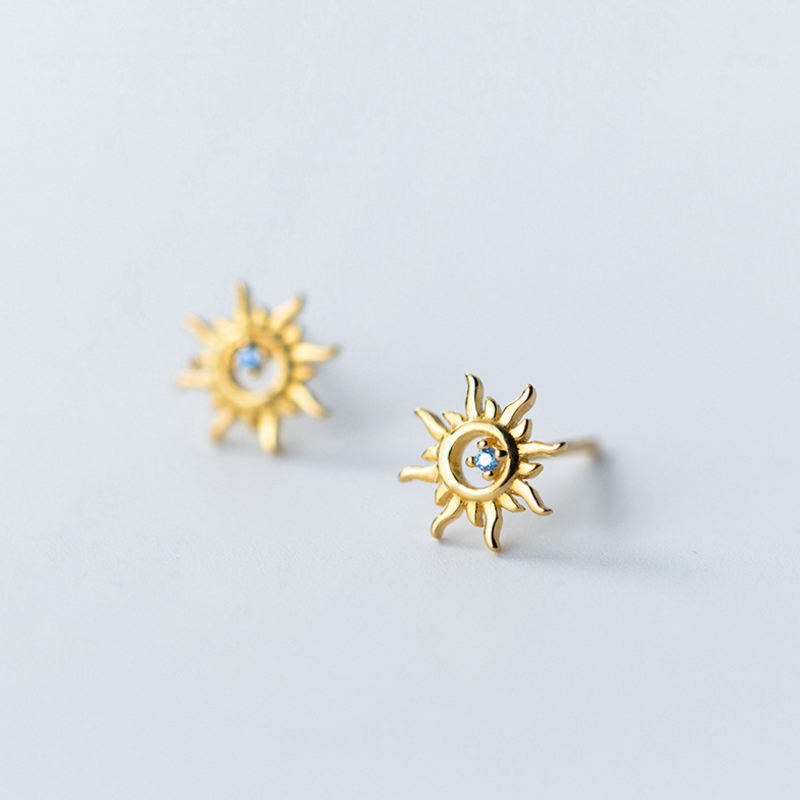 Korea New Design S925 Sterling Silver Simple Fashion Blue Crystal Son Gold Stud Earring Jewelry for Women