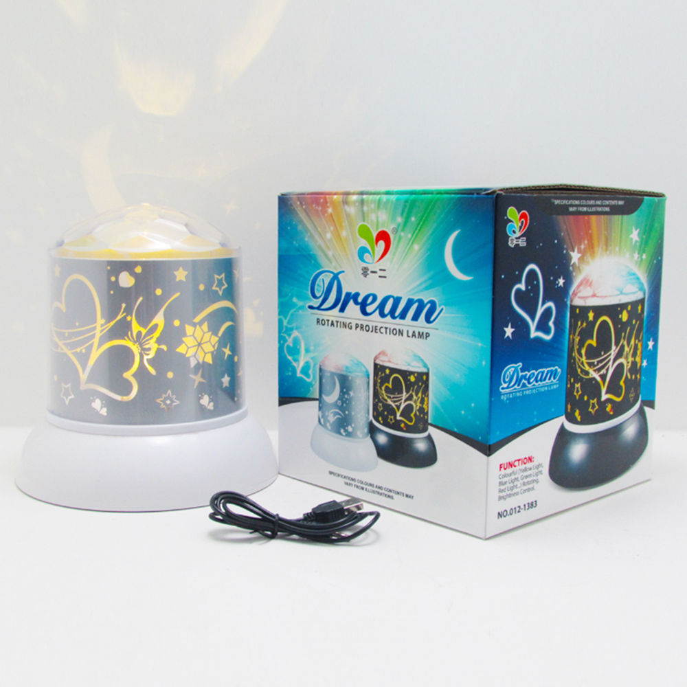 Mood dream heart-shaped full color rotating star projectable rgb led projection night light