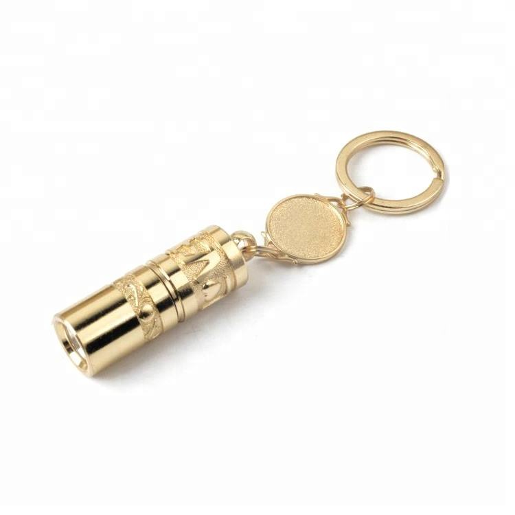 Gold Metal Pocket Sized Led Torch Light Mini Flashlight With Keychain