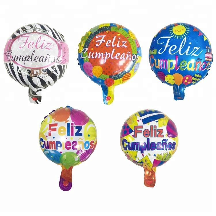 2018 New arrival spanish language Feliz cumpleanos birthday party decorations round shaped colorful happy birthday balloons