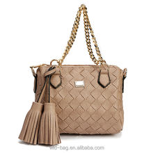Ladies Fashion Leather Handbag with Tassels Tote Crossbody Shoulder Bag Metal Chain Handles