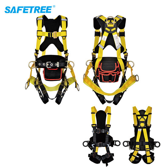 Construction Worksite Fall Protection equipment PPE Safety Equipment Safety Harness with Comfort Back Pad and Thigh Pad
