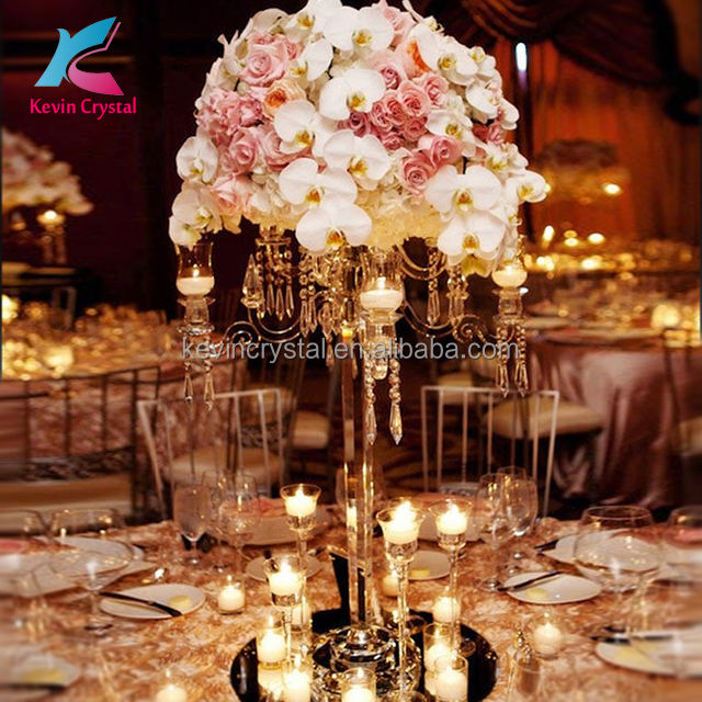 Factory Wholesale Crystal Wedding Candelabra Centerpiece Stand