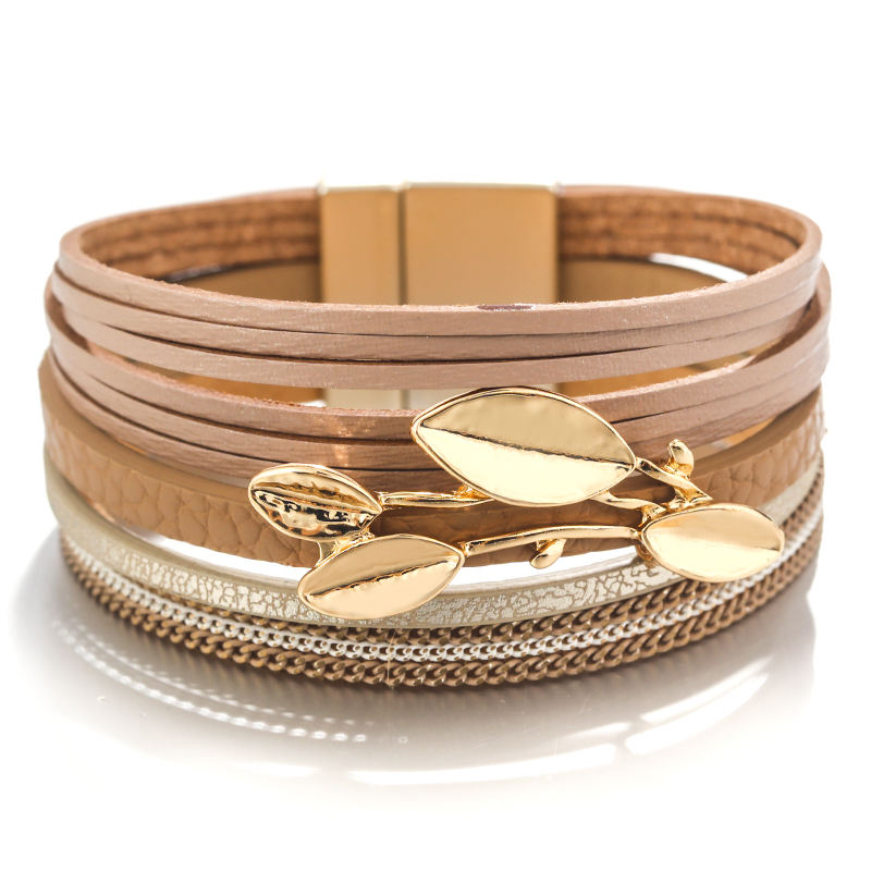 New Style Alloy Leaves Bracelets Multilayer Charm Tree leaf Bracelet Leather Metal Stainless Steel Bangle for Woman Warp Bangles