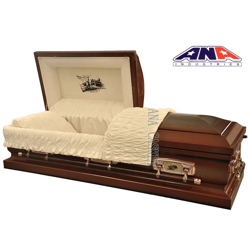ANA wholesale interior lining decorations Metal coffin casket with 18 ga steel