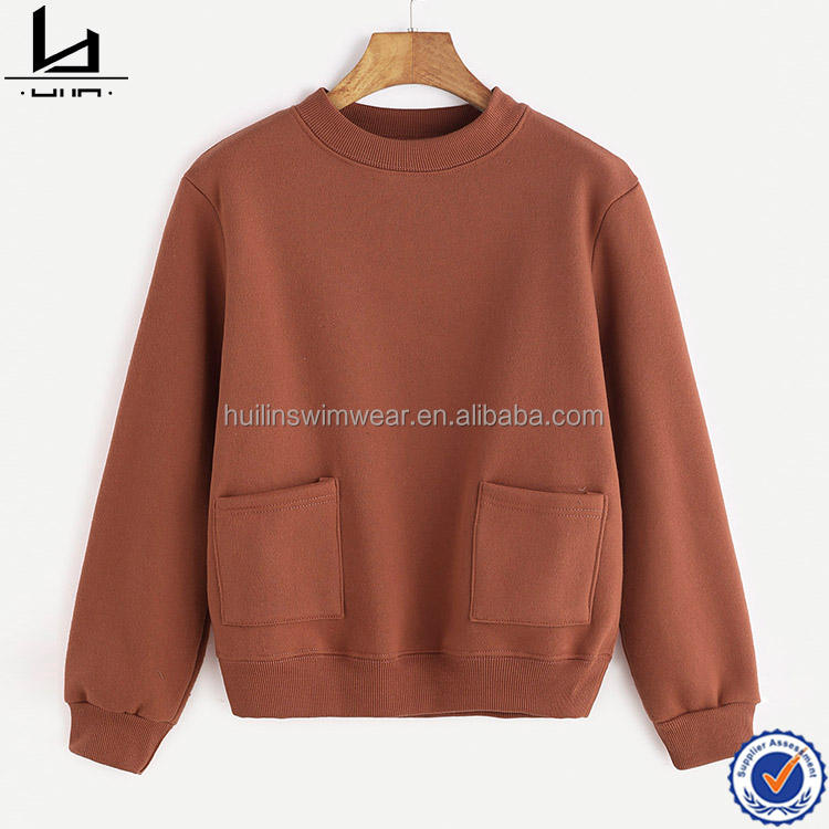 Women's clothing manufacturer no hood sweatshirt crew neck pullover sweatshirt with front pockets
