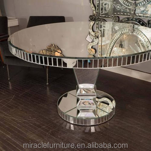 Venetian Design Big Round Wedding Mirrored Dining Table