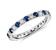 Shining Jewelry 925 Sterling Silver Round blue Zircon Sapphire and Diamond Ring CZ Stackable Eternity Ring