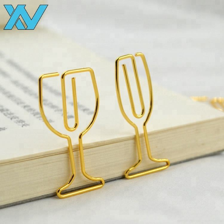 professional customer logo design gold different kinds of wine glass shape paper clip for wine