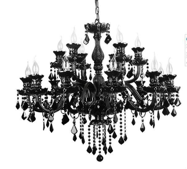 MEEROSEE Chinese Top Quality K9 Black Crystal Murano Glass Chandelier Luxury Black Crystal Ceiling Lamp Hotel Lighting MD1003
