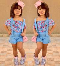 Infantil Toddler Girl Clothes Off Shoulder Floral Tops & blue Suspender Shorts Outfits Sets Vetement Enfant Fille